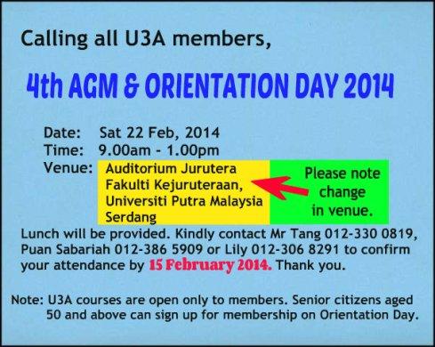 U3A AGM venue